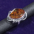 Amber Sterling Silver Ring: Amber Silver Spirals Ring - www.avalonstreasury.com [112 x 112 px]